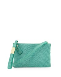 Foley Corinna Cache Snake Embossed Leather Crossbody Bag Jade