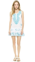 Juliet Dunn Neon Embroidery Beach Dress White Turquoise