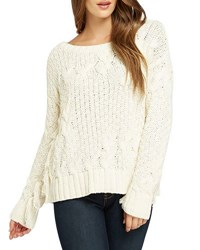 Bobeau Cable Knit Sweater W Fringe Cream