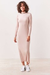 Silence And Noise Evangalista Turtleneck Bodycon Maxi Dress Tan