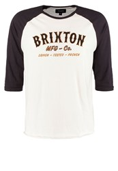 Brixton Harold Long Sleeved Top Off White Washed Black Off White