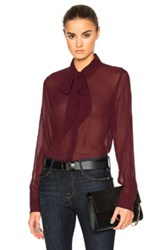 Frame Denim Chiffon Tie Top In Red