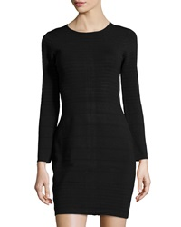 Neiman Marcus Long Sleeve Bandage Dress Caviar
