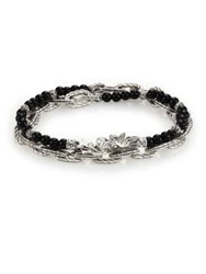 John Hardy Batu Naga Black Chalcedony Bead And Sterling Silver Chain Double Wrap Bracelet Silver Black