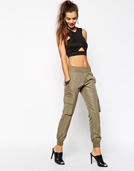 Daisy Street Cargo Pant With Pocket Detail Khaki