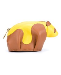Loewe Leather Panda Coin Purse Tan Yellow
