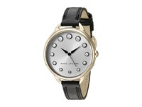 Marc Jacobs Betty Leather Three Hand Watch Black Gold Tone Watches