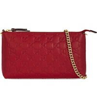 Gucci Gg Signature Debossed Leather Clutch Hibis Red