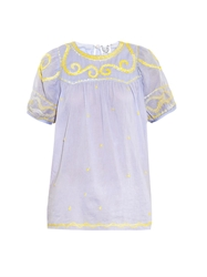 Thierry Colson Olympia Embroidered Cotton Top
