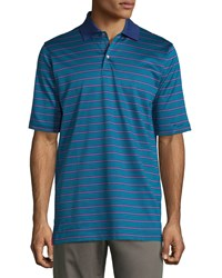 Bobby Jones Short Sleeve Striped Cotton Polo Shirt Teal Blue Pink