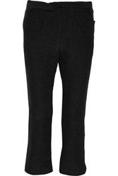 Isabel Marant Nettie Cropped Cotton Blend Bootcut Pants Black