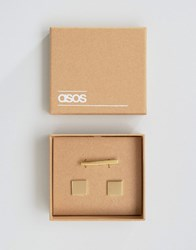 Asos Tie Bar And Square Cufflink Set Gold