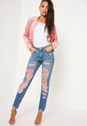 Missguided Pink High Rise Extreme Rip Mom Jeans Blue