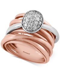 Effy Collection Pave Rose By Effy Diamond Ring 3 8 Ct. T.W. In 14K Rose And White Gold