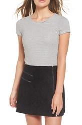 Socialite Women's Stripe Rib Knit Crop Tee
