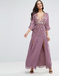 Asos Embellished Kimono Sleeve Maxi Dress Purple