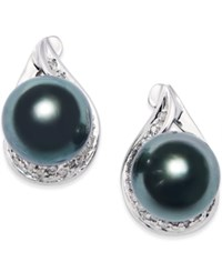 Macy's Cultured Tahitian Black Pearl 9Mm And Diamond 1 6 Ct. T.W. Earrings In 14K White Gold Gray