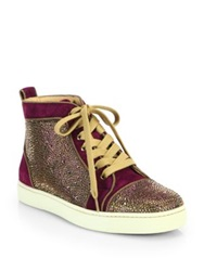 Christian Louboutin Louis Woman Velour High Top Sneakers Purple