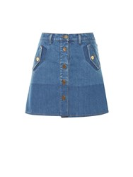 Valentino Button Down Denim Mini Skirt