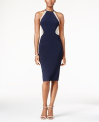 Xscape Evenings Embellished Illusion Mesh Halter Gown Navy Nude
