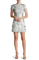 Dress The Population Women's 'Ellen' Sequin Sheath White Silver