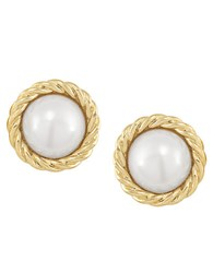 Carolee Manhattan Medley Round Pearl Button Earrings