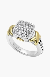 Lagos 'Diamond Lux' Pave Cushion Ring Silver Gold