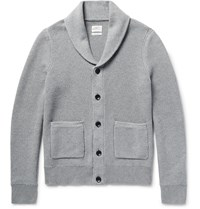 Rag And Bone Avery Shawl Collar Textured Knit Cotton Cardigan Gray