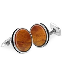 M Clip Bordered Round Wood Cufflinks No Color
