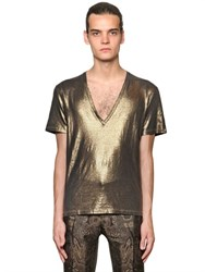 Etro Laminated Cotton Linen T Shirt