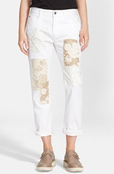 Stella Mccartney 'The Skinny' Embroidered Patchwork Boyfriend Jeans White