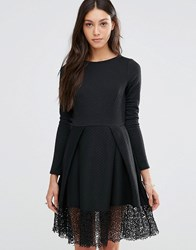 Traffic People Hepburn Dress With Lace Hem Black