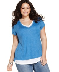 Style And Co. Plus Size Short Sleeve Layered Look Tee Pacific Aqua