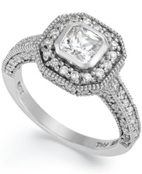 B. Brilliant Sterling Silver Cubic Zirconia Pave Set Engagement Ring 1 5 8 Ct. T.W.
