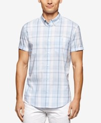 Calvin Klein Men's Short Sleeve Large Window Plaid Shirt Placid Blue