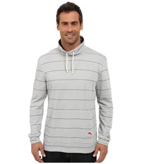 Tommy Bahama French Terry Pullover Funnel Heather Blue Stripe Men's Long Sleeve Pullover Gray