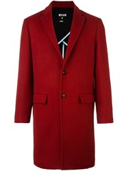 Msgm Single Breasted Coat Red