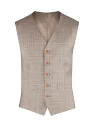 Gibson Check Tailored Fit Waistcoat Taupe