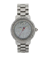 Betsey Johnson Ladies Silvertone Crystallized Watch