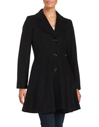 Cece Fit And Flare Wool Blend Buttoned Coat Black