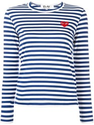 Comme Des Garcons Play Striped Longsleeved T Shirt Black