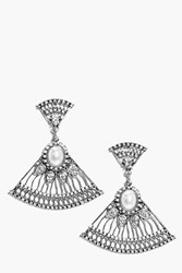 Boohoo Pearl And Diamante Drop Earrings Silver