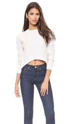 Wilt Cabled Crop Cashmere Sweater Cloud