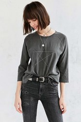 Truly Madly Deeply Abstract Star Raglan Tee Washed Black