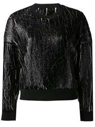3.1 Phillip Lim Coated Cropped Sweatshirt Black