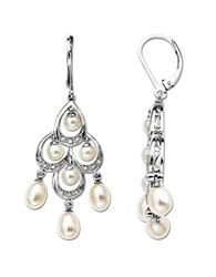 Lord And Taylor Pearl And Diamond Accented Chandelier Earrings In Sterling Silver Sterling Silver Pearl Diamond