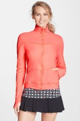 Trina Turk Recreation Jacquard Detail Front Zip Jacket Orange