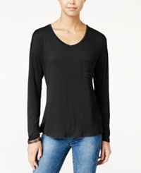 Rebellious One Juniors' V Neck High Low Pocket Tee Black