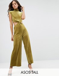 Asos Tall Jumpsuit With Cut Out Detail In Velvet Mustard Yellow