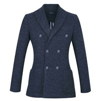 Diverso Double Breasted Wool Mix Blazer Navy Knit
